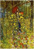 Gustav Klimt Garden with Crucifix Art Print Poster Billeder