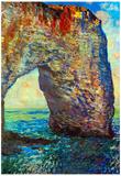 Claude Monet The Rocky Cliffs of Etretat La Porte Man 2 Art Print Poster Posters