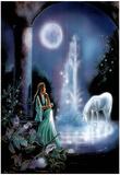 Gina Femrite Moonlit Garden Unicorn Art Print POSTER Prints