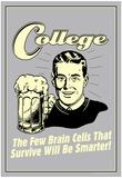 College Few Brains Cells Survive Smarter Funny Retro Poster Plakat