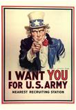 I Want You for U.S. Army Uncle Sam WWII War Propaganda Art Print Poster Print