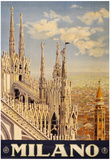Milano Italy Travel Vintage Ad Poster Print Plakater
