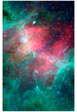 Cosmic Epic Unfolds Eagle Nebula in Infrared Space Photo Art Poster Print Pósters