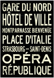 Paris Metro Stations Vintage RetroMetro Travel Poster 高品質プリント