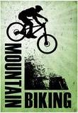 Mountain Biking Green Sports Poster Print Posters
