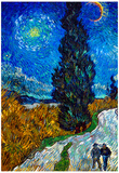 Vincent Van Gogh Country Road in Provence by Night Art Print Poster Posters