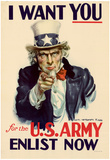 Uncle Sam I Want You for U.S. Army WWII War Propaganda Art Print Poster Posters