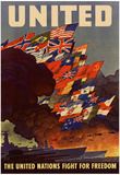 United The United Nations Fight for Freedom WWII War Propaganda Art Print Poster Stampe
