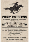 Pony Express Replica Recruitment Advertisement Print Poster Poster