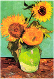 Vincent Van Gogh Three Sunflowers in a Vase 2 Art Print Poster Posters