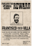Pancho Villa Wanted Sign Print Poster Plakater