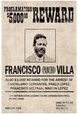 Pancho Villa Wanted Sign Print Poster Foto