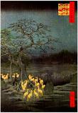 Utagawa Hiroshige Fire Foxes Art Print Poster Poster