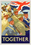 Together British Servicement WWII War Propaganda Art Print Poster Poster