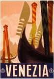Venezia Italy Tourism Travel Vintage Ad Poster Print Posters