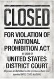 Prohibition Act Closed Notice Print