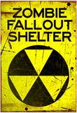 Zombie Fallout Shelter Sign Black Triangle Poster Prints