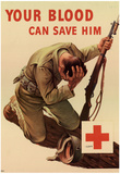 Your Blood Can Save Him WWII War Propaganda Art Print Poster Plakater