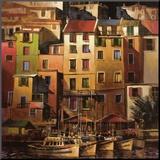 Goldenes Mittelmeer Druck aufgezogen auf Holzplatte von Michael O'Toole