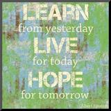 Aprender Vivir Esperanza, en inglés Lámina montada en tabla por Louise Carey