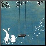 Follow Your Heart- Let's Swing Druck aufgezogen auf Holzplatte von Kristiana Pärn