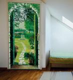Vista del Porticato Door Wallpaper Mural Wandgemälde