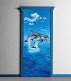 Three Dolphins Door Wallpaper Mural Wallpaper Mural