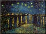 Sterrennacht boven de Rhône, ca.1888 Kunst op hout van Vincent van Gogh