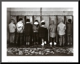 Duif komt ook plassen Kunst op hout van Robert Doisneau