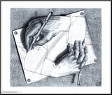 Mains dessinant Affiche montée sur bois par M. C. Escher