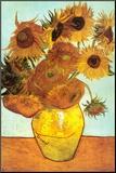 Zonnebloemen, ca. 1888 Kunst op hout van Vincent van Gogh