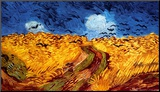 Weizenfeld mit Raben Druck aufgezogen auf Holzplatte von Vincent van Gogh
