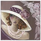 Femme Chapeau Blanc Et Rose Arte di Véronique Didier-Laurent