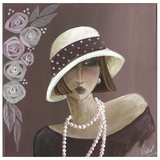 Femme Chapeau Blanc Violet Poster by Véronique Didier-Laurent
