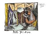 Femme Dessinant Femme Assoupie Impressão colecionável por Pablo Picasso