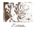 Chevalier en Armure, Page et Femme Nue Impressão colecionável por Pablo Picasso