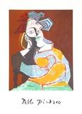 Femme Accoudee au Drapeau Bleu et Rouge Sammlerdrucke von Pablo Picasso