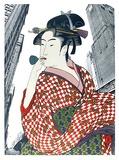 Woman Playing a Poppin (After Utamaro) Premium-versjoner av Michael Knigin