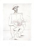 Arlequin Moustachu a la Guitare Impressão colecionável por Pablo Picasso