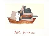Guitare Verre et Bouteille Impressão colecionável por Pablo Picasso