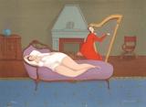 Lounging with Harp (Sepia) Særudgave af Branko Bahunek