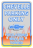 Chevrolet Chevy Chevelle Car Parking Only Tin Sign