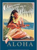 Come Away with Me Paradise Aloha Sexy Girl Tin Sign