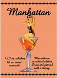 Manhattan Drink Recipe Sexy Girl Plaque en métal