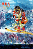 U.S. Olympic Ski Jumper Poster by LeRoy Neiman