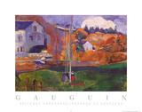 Brittany Landscape Paysage de Britagne Print van Paul Gauguin