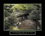 Communicate Bridge over River Motivational Láminas