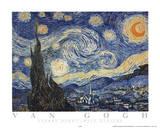 星月夜(糸杉と村) 1889年 アートポスター : フィンセント・ファン・ゴッホ