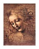 Female Head, La Scapigliata ポスター : レオナルド・ダ・ヴィンチ