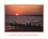 Serenity Prayer Ocean Beach Sunset Posters